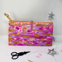 Load image into Gallery viewer, Notion Clutch - Pink , mauve and gold strokes