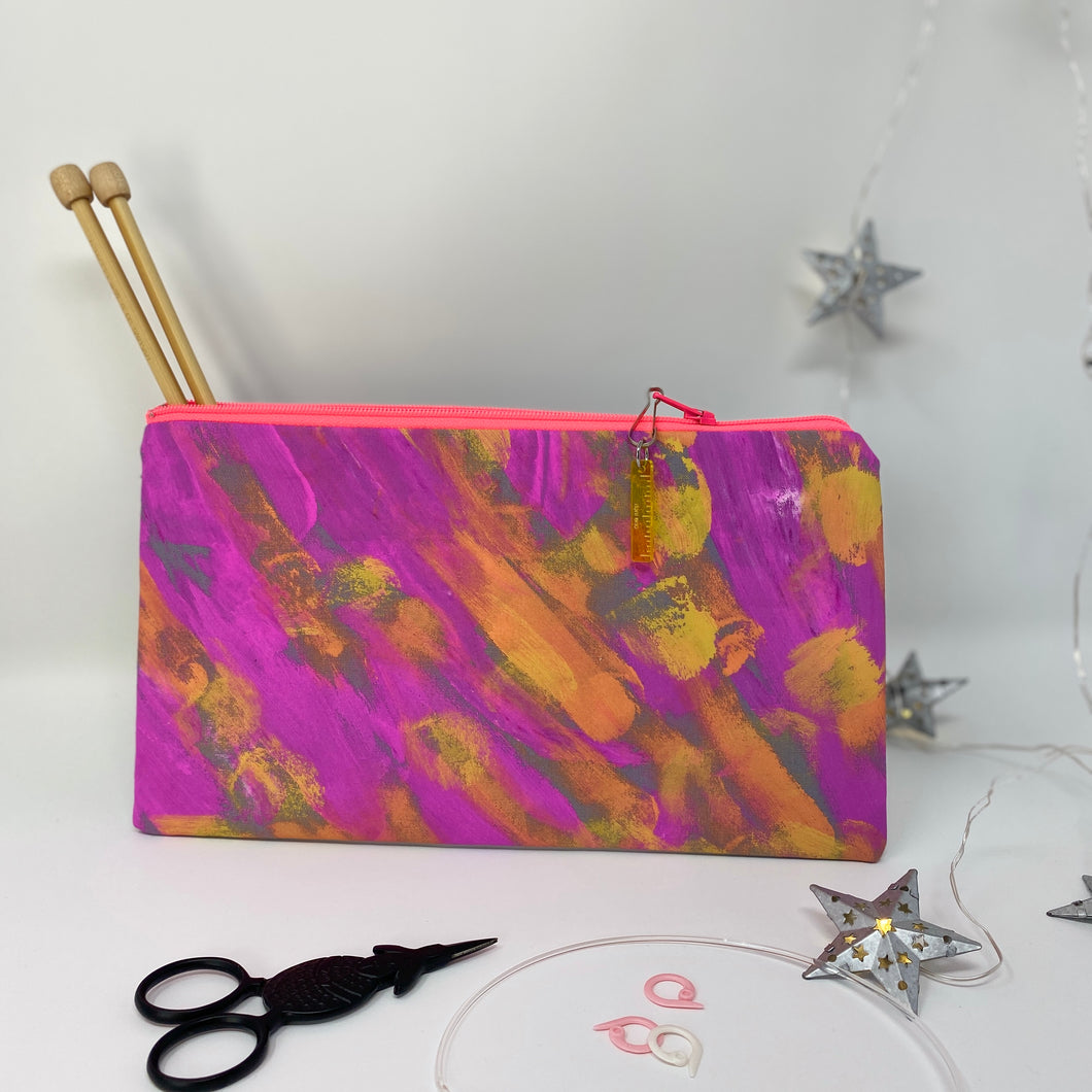 Notion Clutch - Pink and Orange Paint Strokes