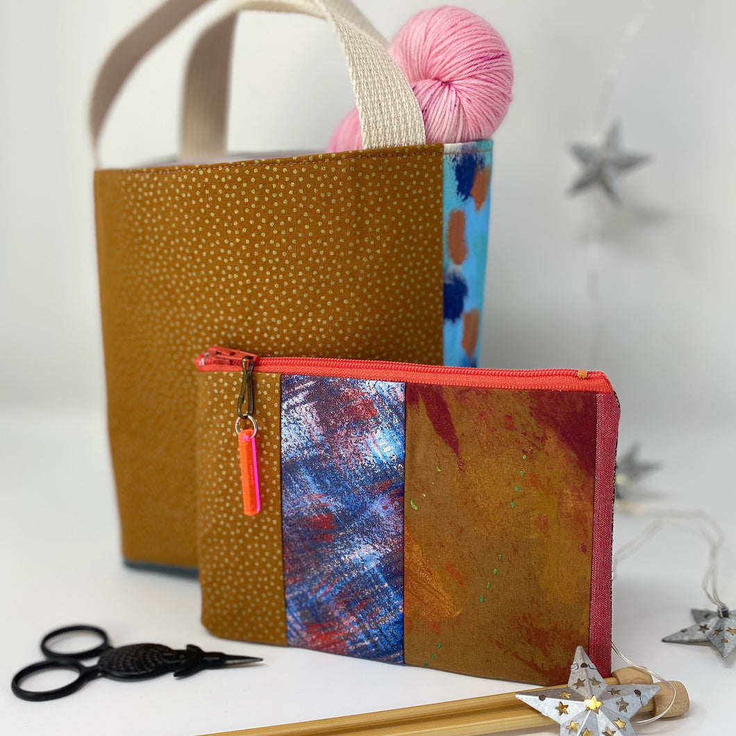 Notion bag- Copper with green dots