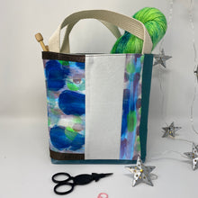 Load image into Gallery viewer, Tote - Mini - Blue and teal , painted fabric