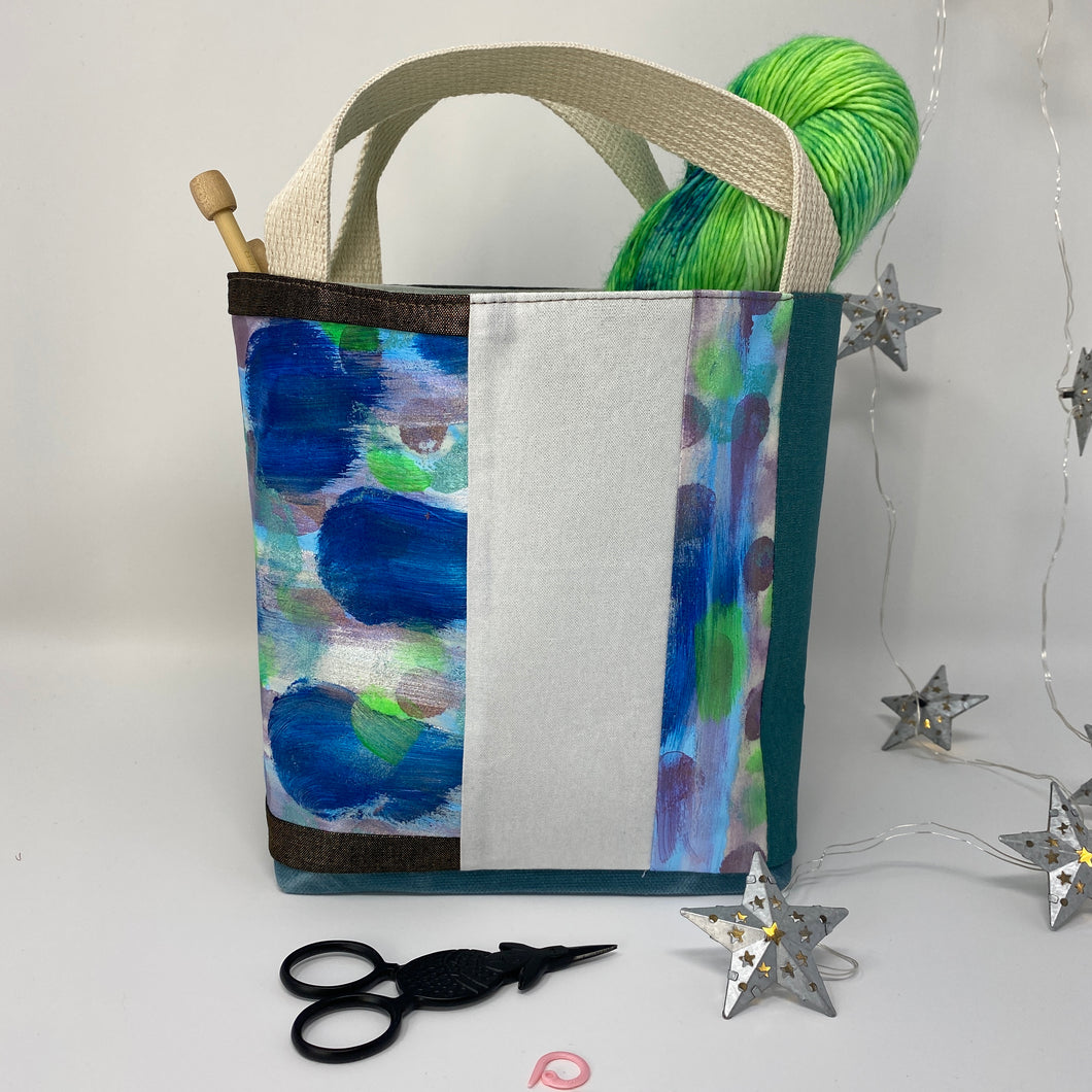 Sock knitting bag, blue and green painted fabric , mini tote