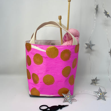 Statement bag, knitters bag, hot pink and gold dots, short handles, sock size project bag