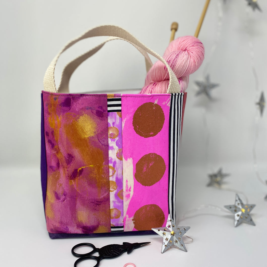 Tote - Mini, Hot pink, three gold dots