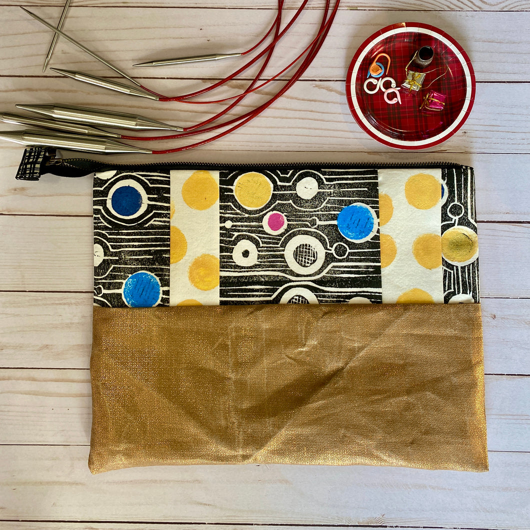 Block printed needle pouch,