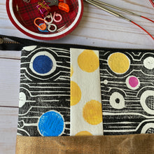 Load image into Gallery viewer, Needle pouch - knitting needles and crochet hooks- black block printed fabric with color pops
