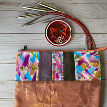 Load image into Gallery viewer, Needle pouch - knitting needles and crochet hooks- purple and rose gold