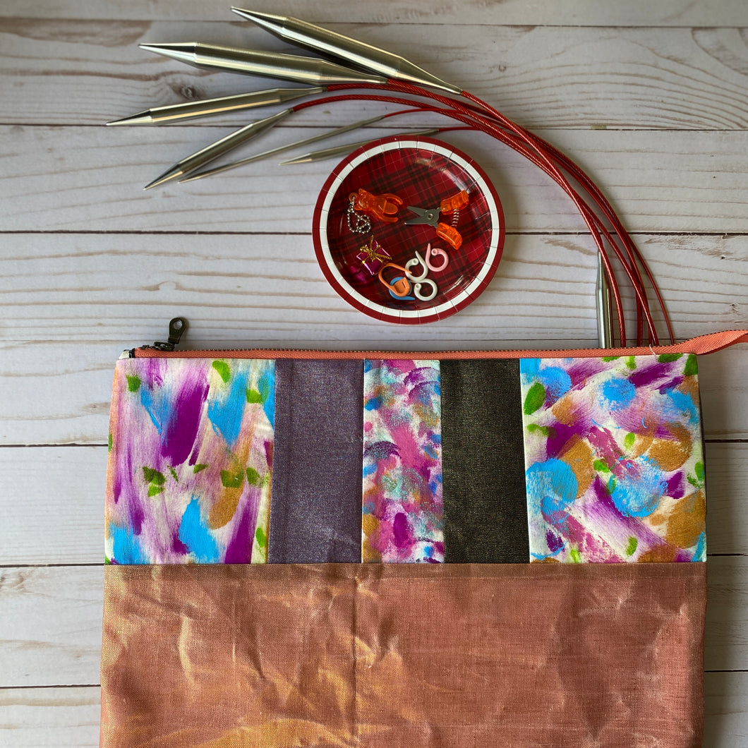 Needle pouch - knitting needles and crochet hooks- purple and rose gold