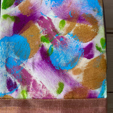 Load image into Gallery viewer, Paint strokes on fabric, purple and blue with gold