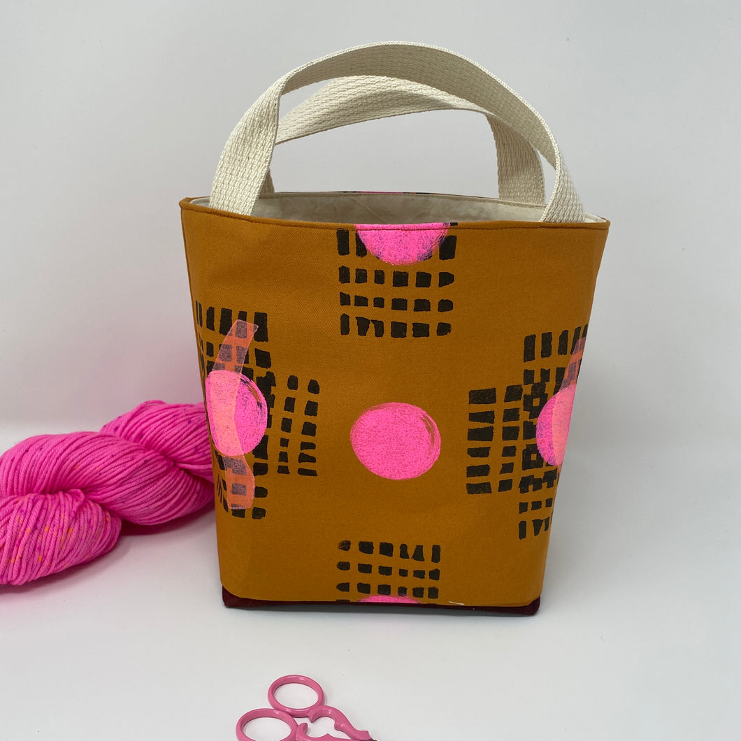Mini block printed tote for knitters