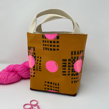 Load image into Gallery viewer, Tote - Mini - Black grid pattern with big pink dot