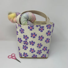 Load image into Gallery viewer, Mini tote block printed in tiny lavender flowers