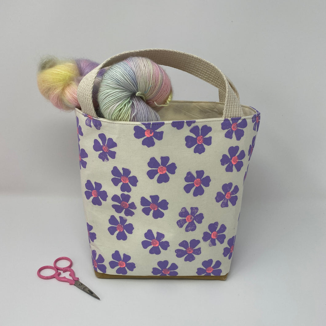 Mini tote block printed in tiny lavender flowers