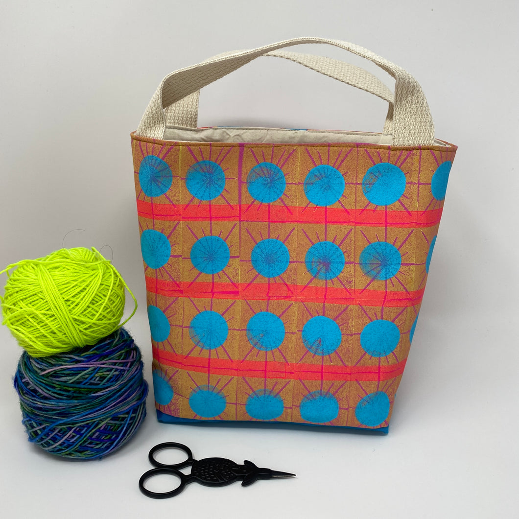 Tote - Mini - Starburst block print pattern with big light blue dots