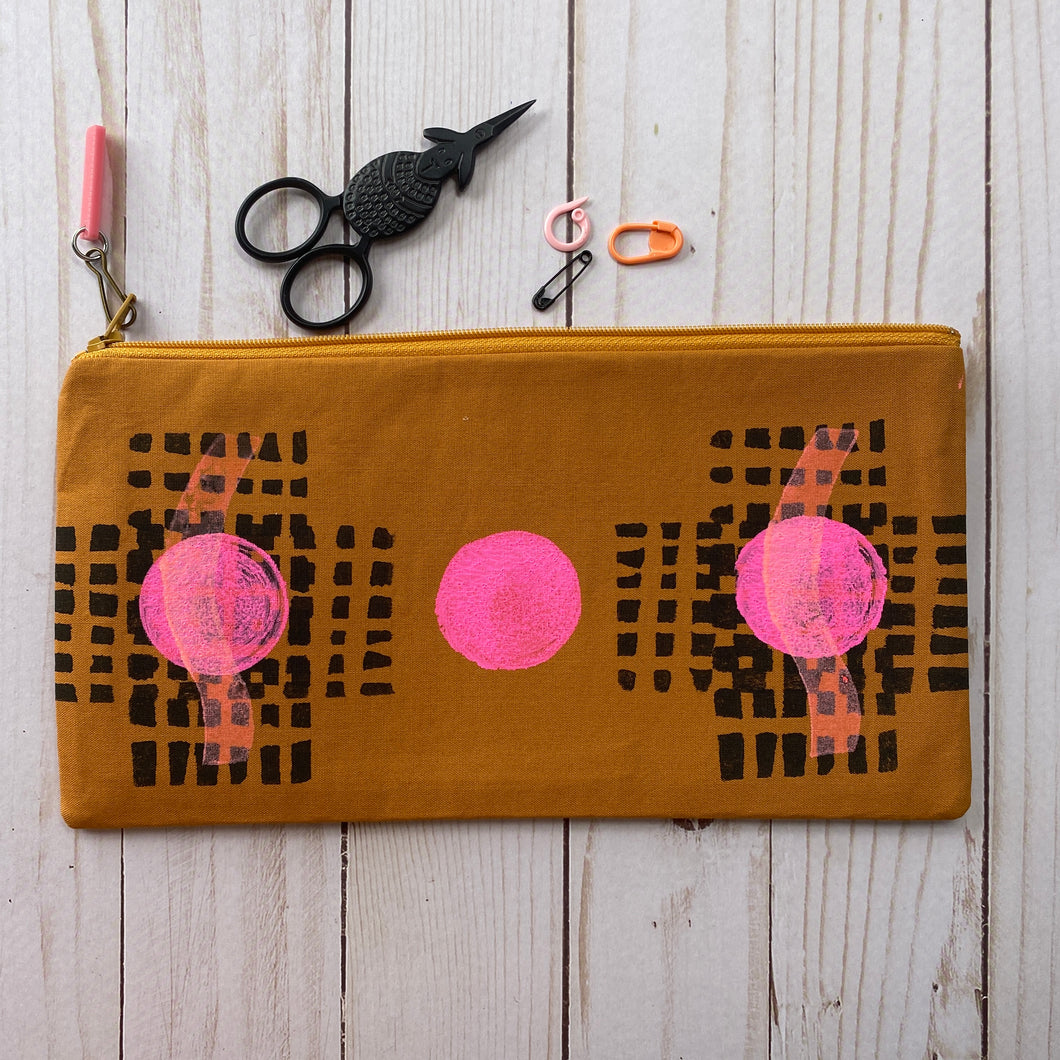 Notion Clutch - Black block printed grid with pink dot