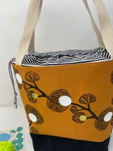 Load image into Gallery viewer, Large drawstring bag - Black ginkgo print with white dots
