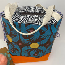 Load image into Gallery viewer, Large drawstring bag - Block printed blue hands reaching for gold
