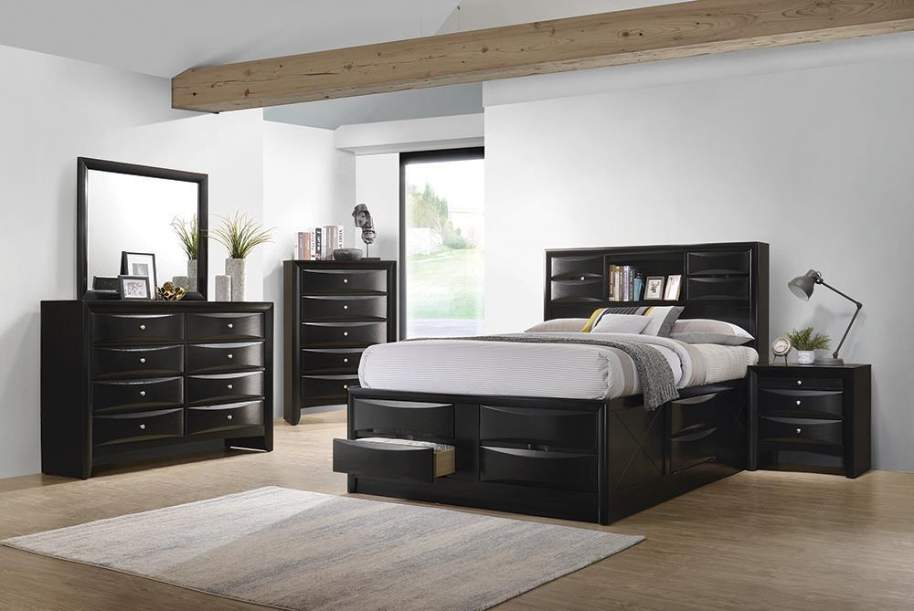 Briana Transitional Black King Four Piece Bedroom Set
