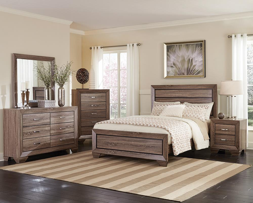 Kauffman Transitional Washed Taupe Queen Four Piece Set