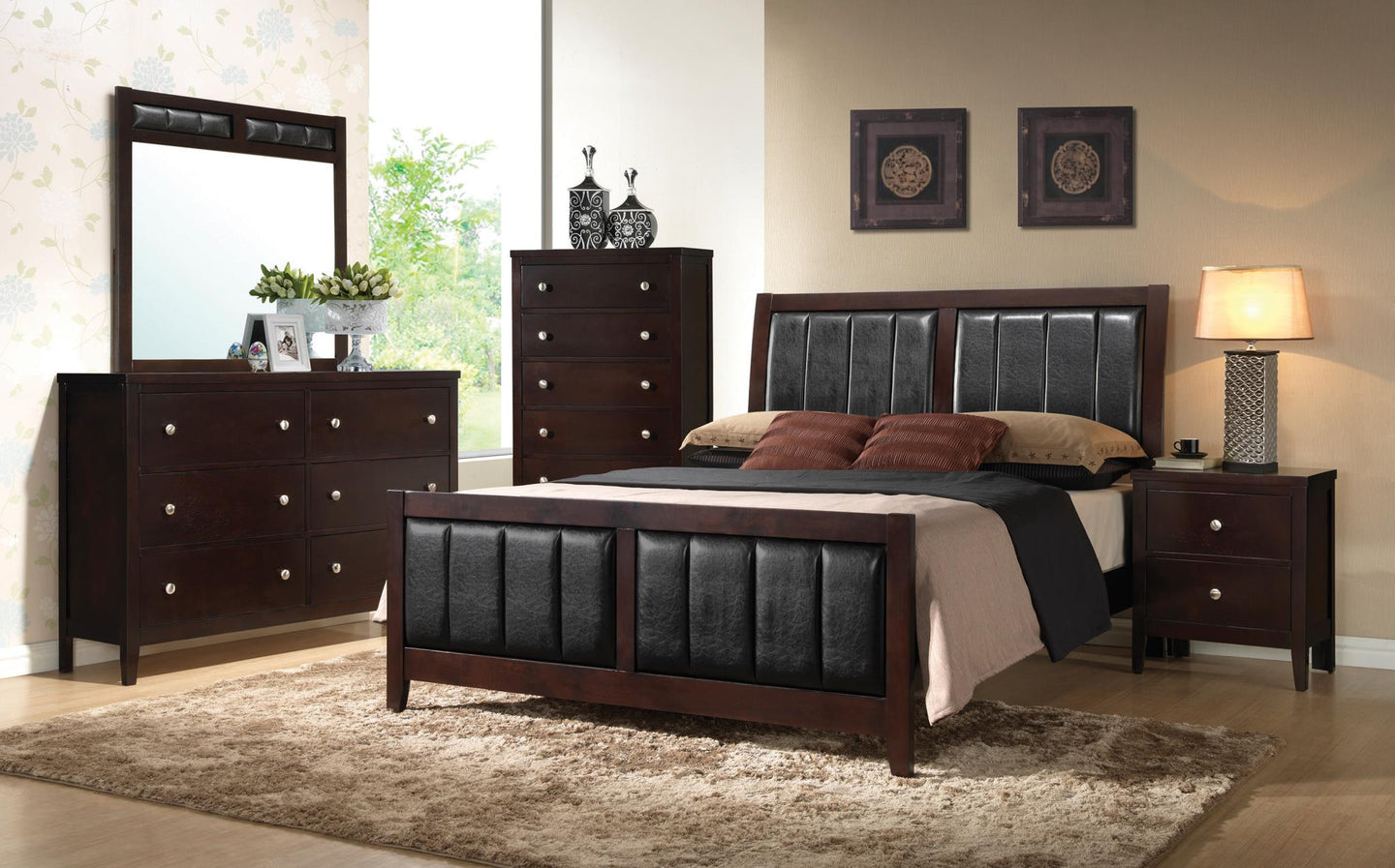 Carlton Cappuccino Upholstered King Four Piece Bedroom Set