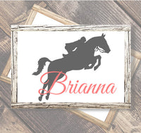 Horse jumping with Personalized name