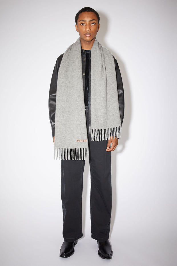 Narrow Wool Scarf Light Grey Melange