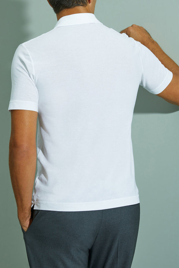 White short-sleeved Ice Cotton polo shirt
