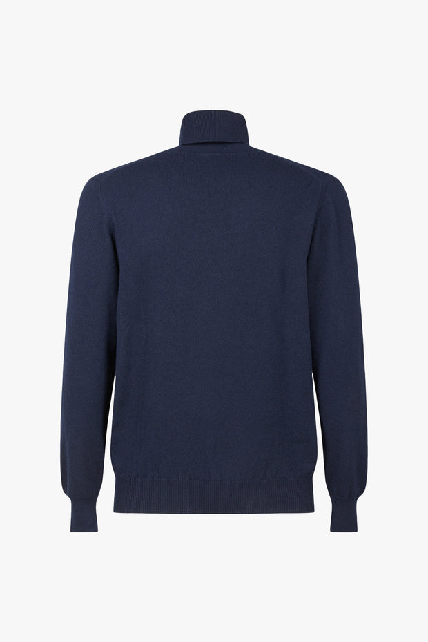 Blue Cashmere Turtleneck