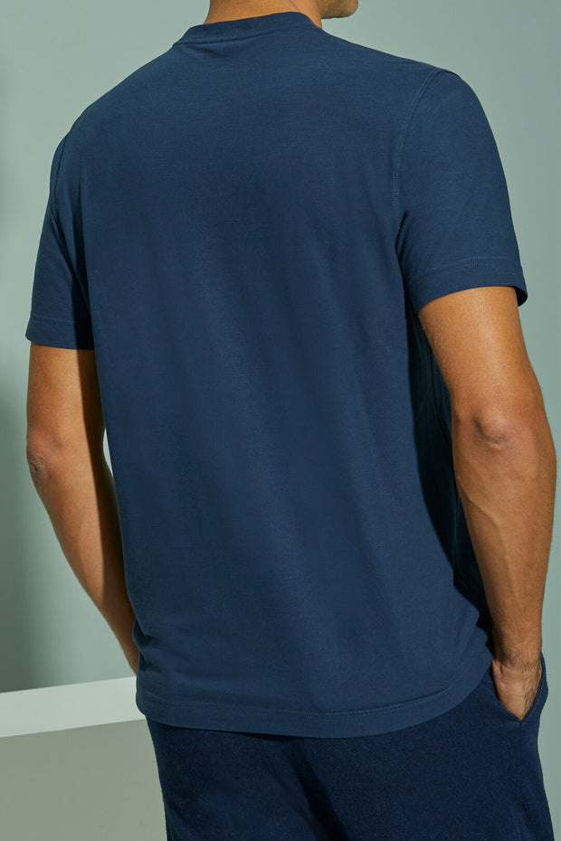 Blue short-sleeved Ice Cotton T-shirt