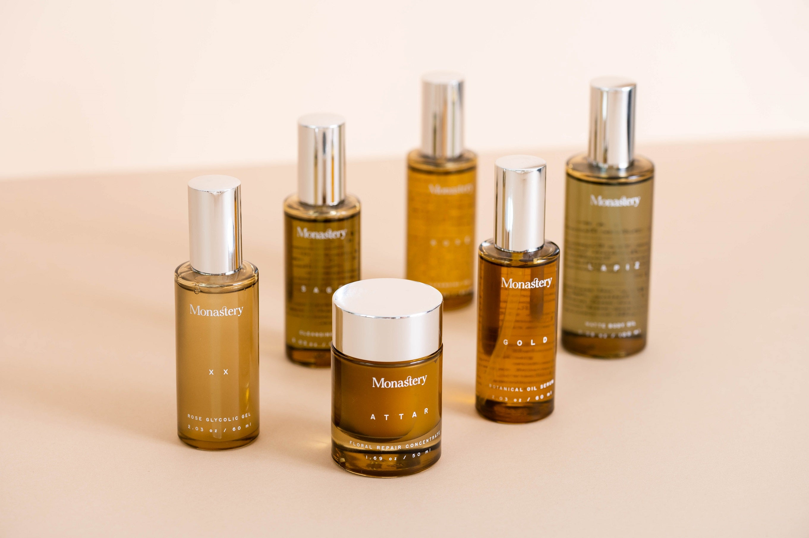 monastery made skincare products luxury bottles available at nourish clean beauty