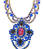Bijoux MG Blue and Purple Czech Glass Necklace Earring Set - Vintage Lane Jewelry