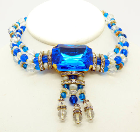 blue necklace vintage brass and glass raleigh filigree products