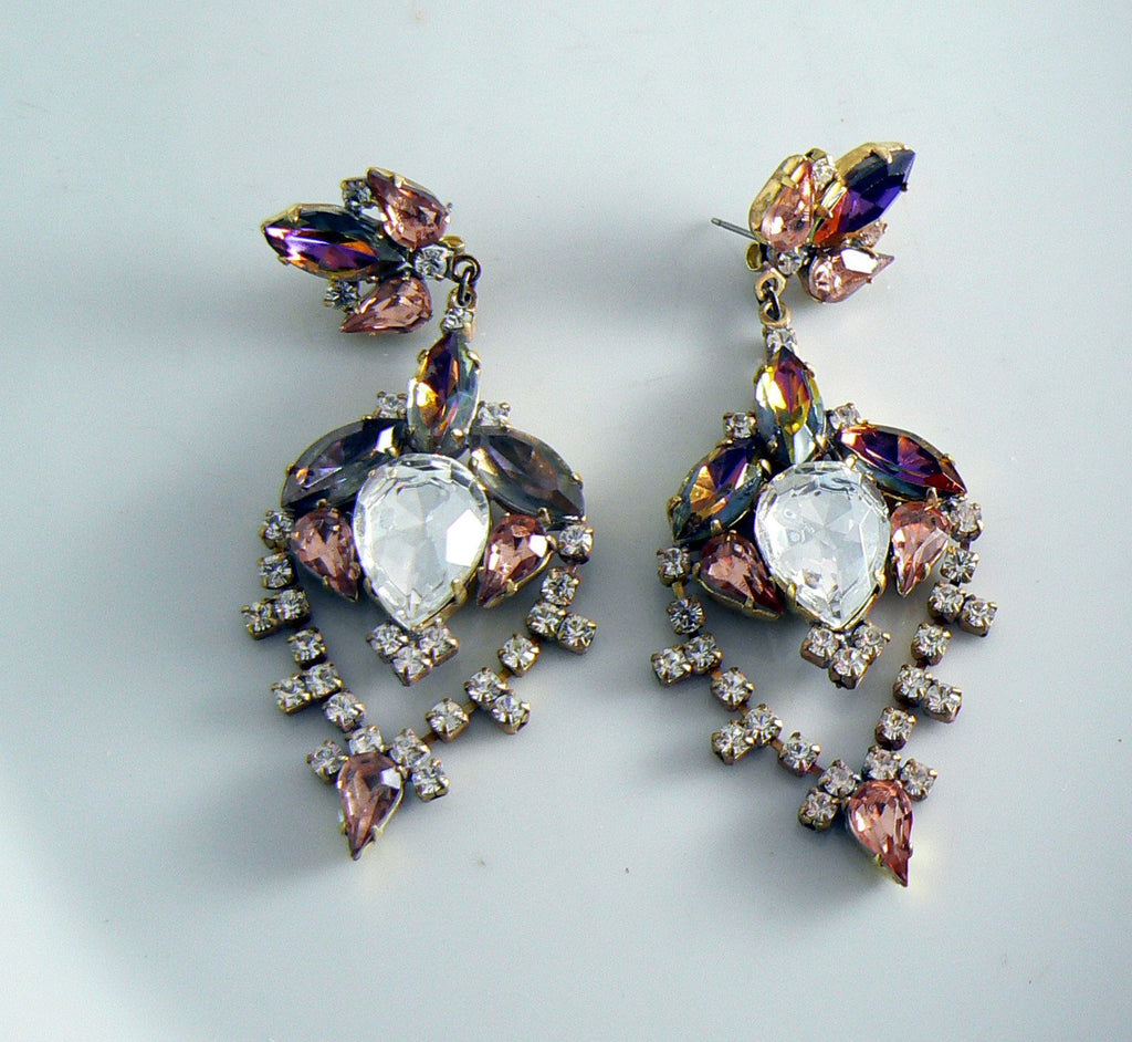 Czech Glass Peach Rhinestone Pierced Style Earrings - Vintage Lane Jewelry