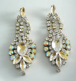 Czech Glass Pierced Style Clear Rhinestone Earrings - Vintage Lane Jewelry