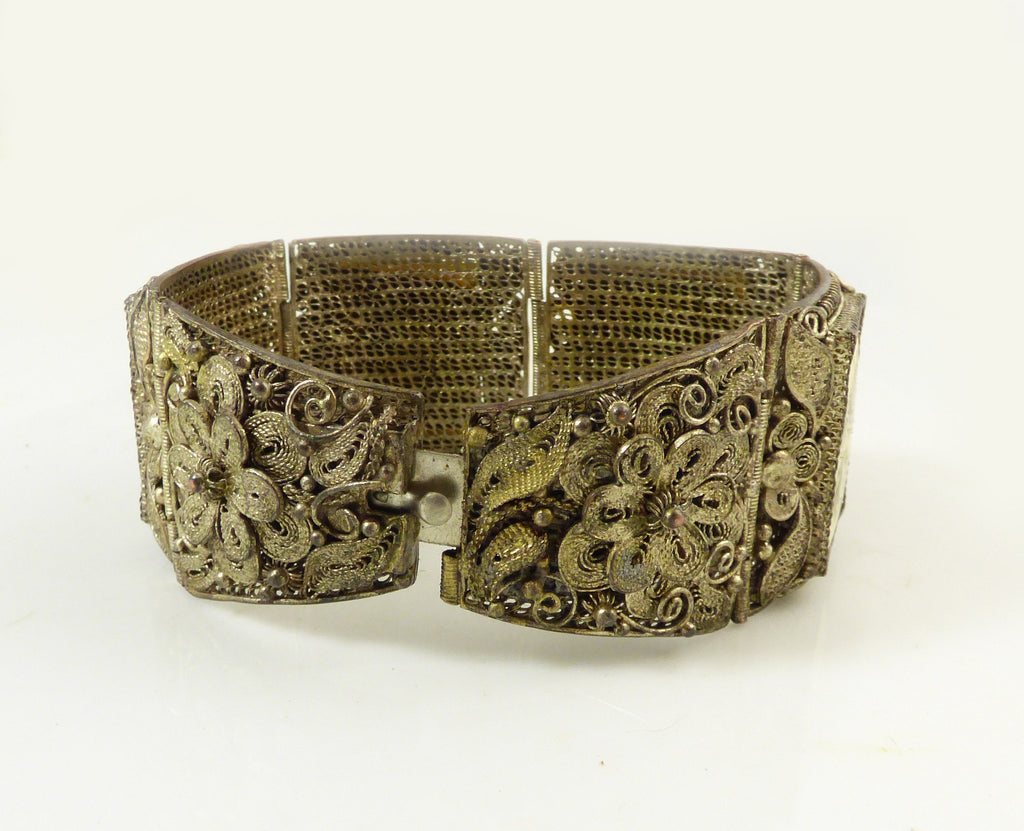 Antique Chinese Export Ox Bone Silver Filigree Warrior Scrimshaw Bracelet - Vintage Lane Jewelry