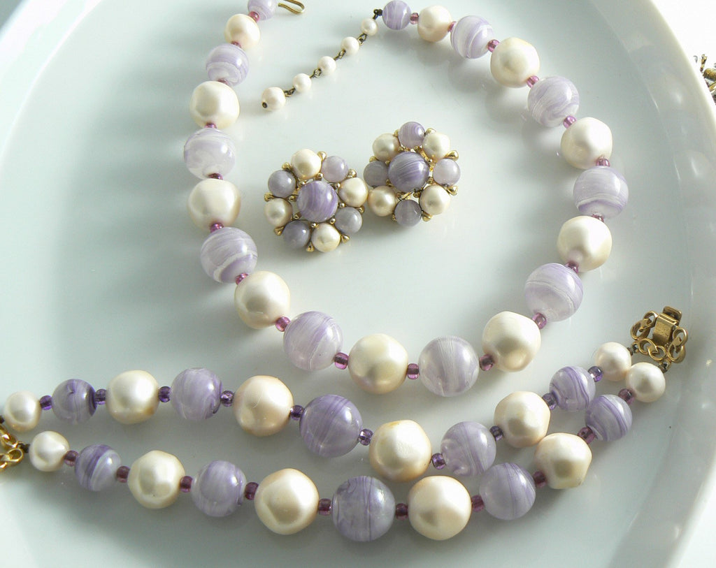 Marvella Lavender And Faux Pearl Bead Necklace Bracelet Set - Vintage Lane Jewelry