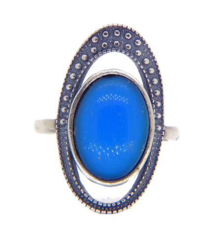 Chinese Export Blue Glass Cabochon 800 Silver Filigree Hinged Panel Bracelet