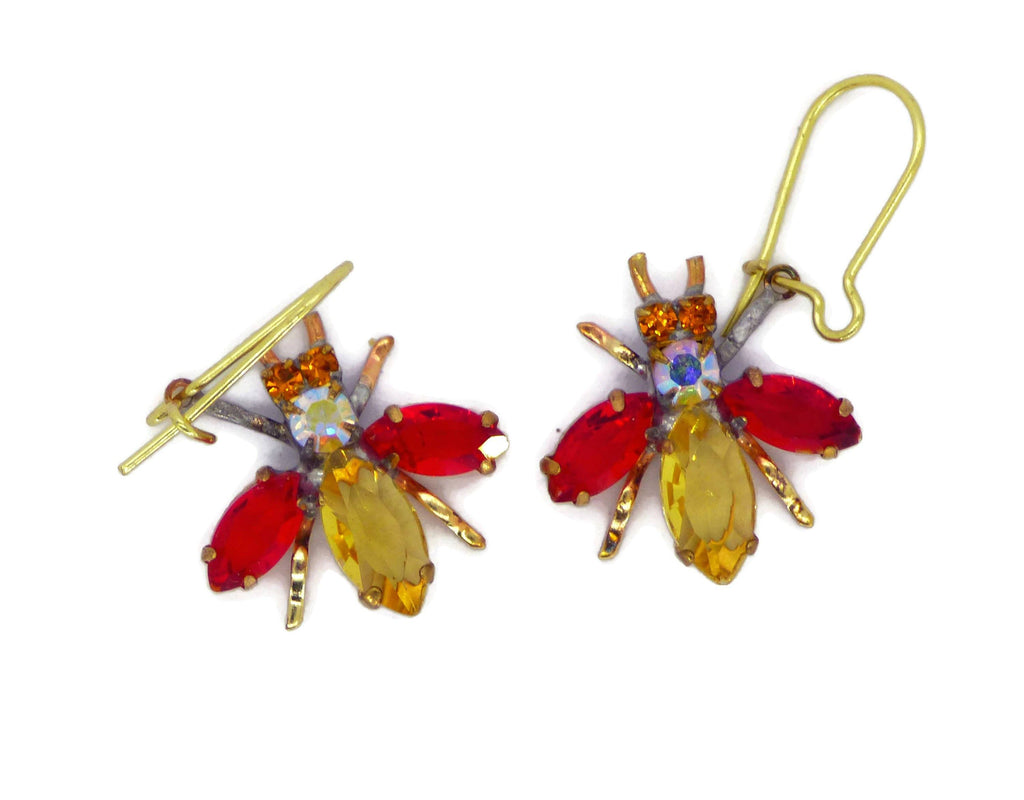 Czech Glass Rhinestone Fly Earrings Yellow Body and Red Wings, Pierced Style Earrings - Vintage Lane Jewelry