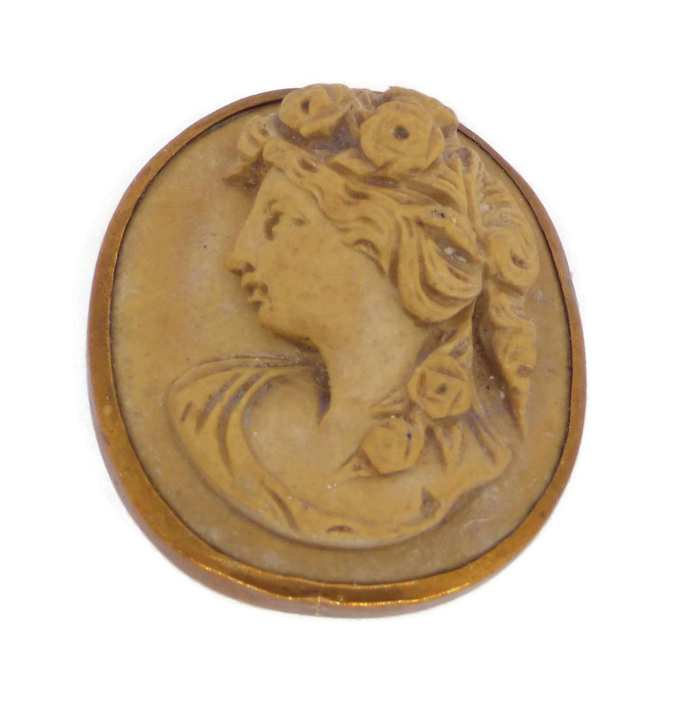 Antique Victorian 1890's Lava Buttonhole Stud Cameo - Vintage Lane Jewelry