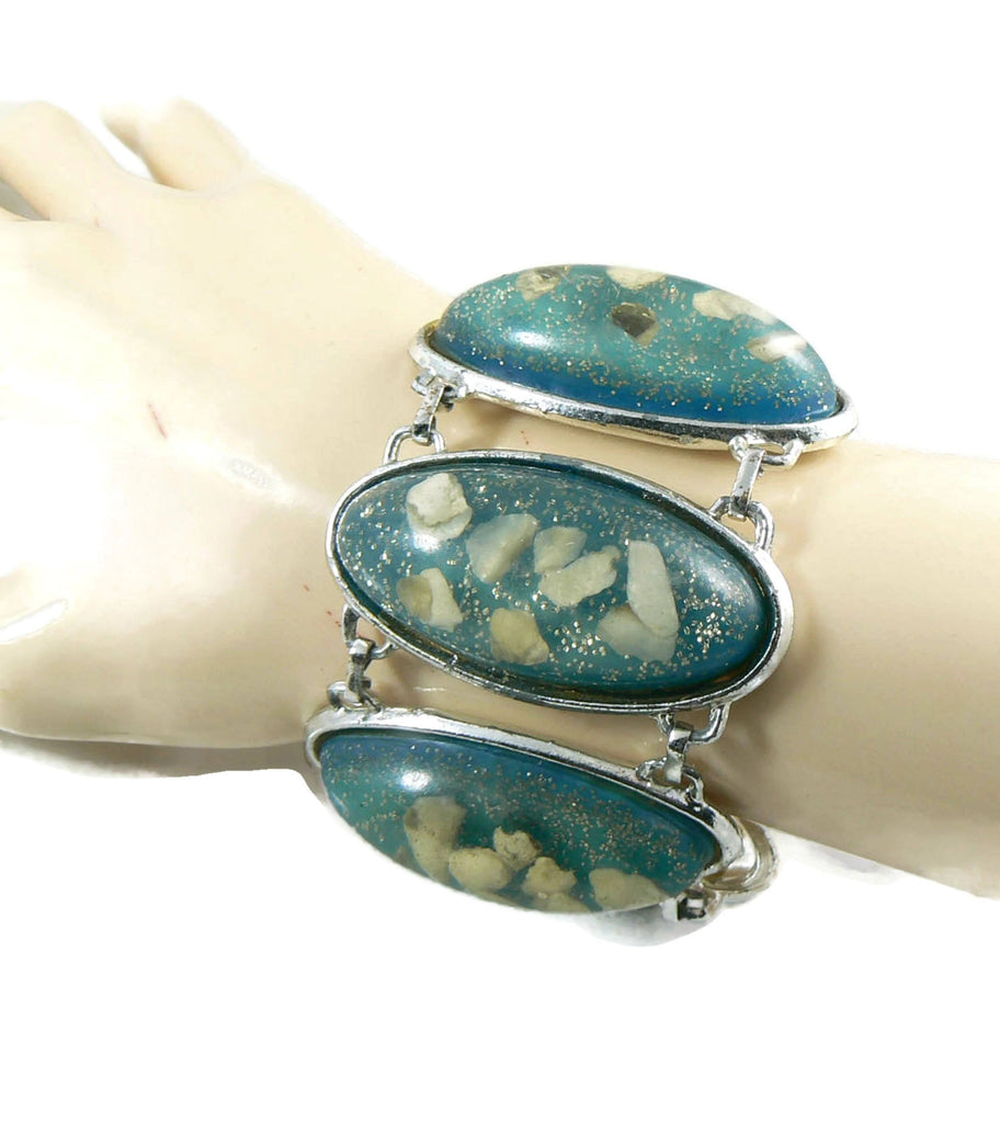 Huge Vintage Book Piece Blue Confetti Lucite Panel Bracelet - Vintage Lane Jewelry