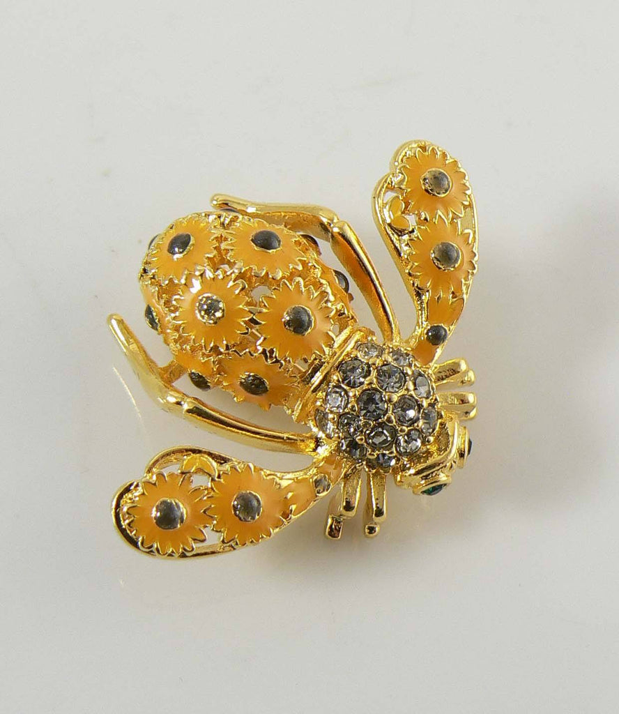 "Joan Rivers ""SUNFLOWER"" Enamel and Crystal Bee Pin / Brooch - Vintage Lane Jewelry"