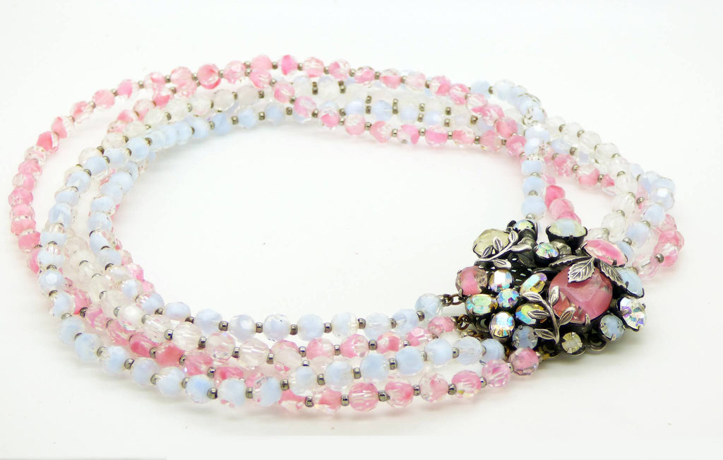 Vintage Vendome Pink, Blue Art Glass Aurora Borealis Rhinestone 5 Strand Necklace - Vintage Lane Jewelry