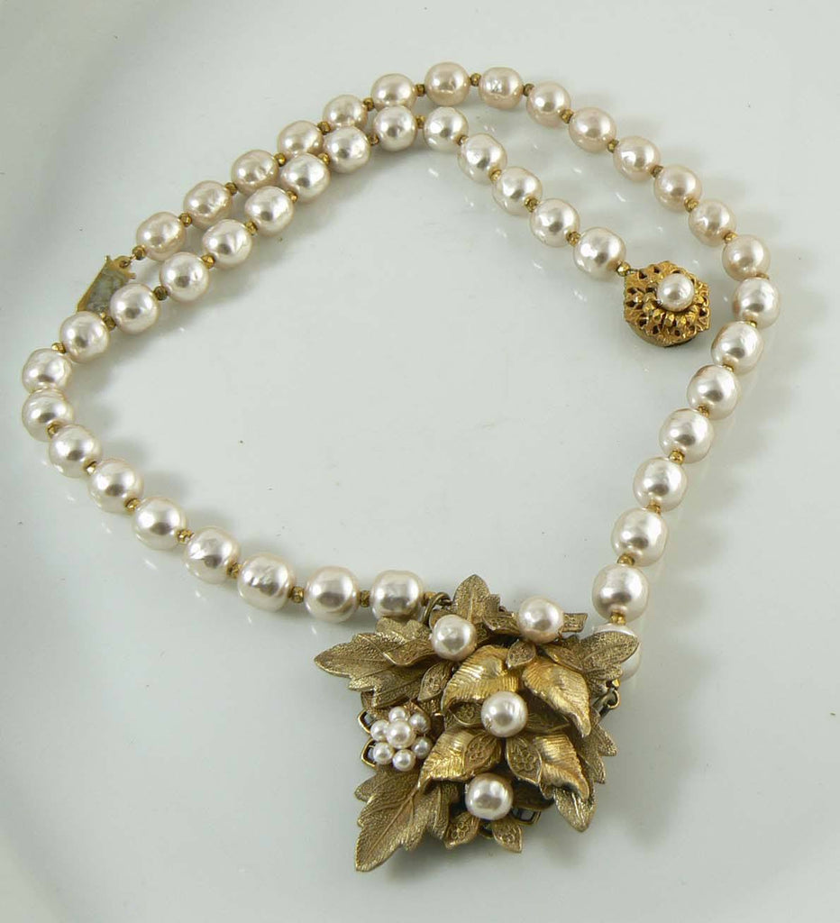 Vintage Miriam Haskell Baroque Pearl Flower and Leaf Pendant Necklace - Vintage Lane Jewelry