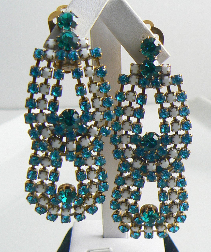 Czech Glass Blue White Rhinestone Dangle Clip Earrings - Vintage Lane Jewelry
