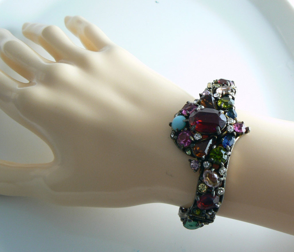 Antique Rhinestone Pot Metal Clamper Bracelet - Vintage Lane Jewelry