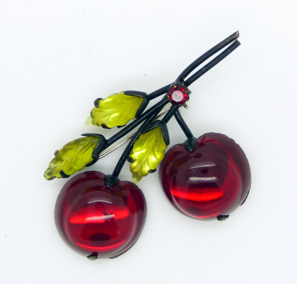 Double Cherry Fruit Figural Austria Pin.Signed Austria - Vintage Lane Jewelry