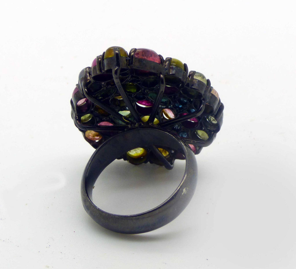 Huge Tourmaline, Blue Topaz and Ruby Black Rhodium Plated over Sterling Silver Ring, Size 7.5. - Vintage Lane Jewelry