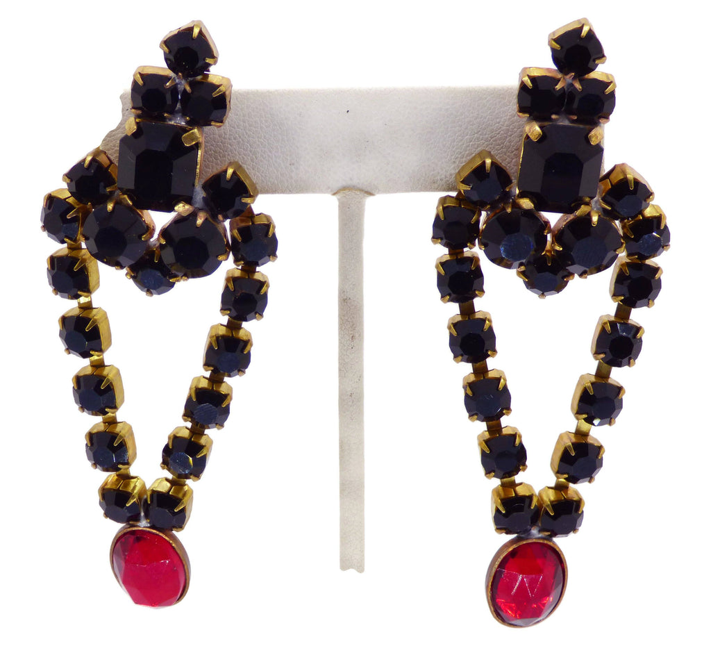 Bijoux MG Czech Black Stone Choker and Earrings - Vintage Lane Jewelry