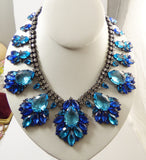 Blue Rhinestone Czech Glass Japanned Metal Statement Necklace - Vintage Lane Jewelry