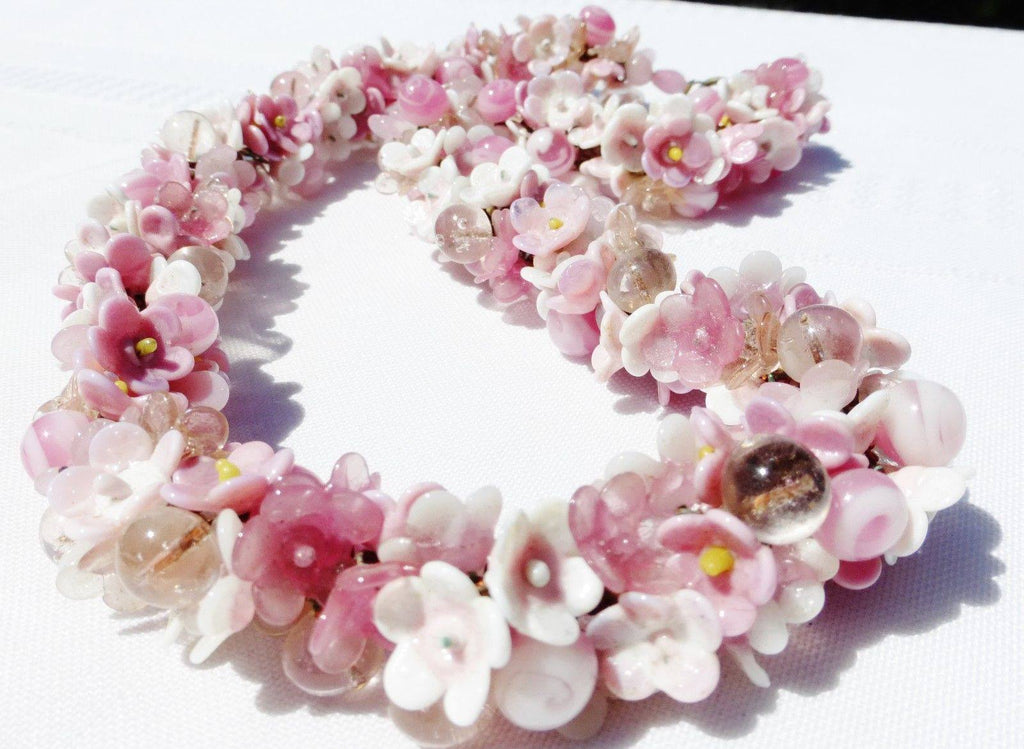 Murano Pink Flower Glass Necklace - Vintage Lane Jewelry
