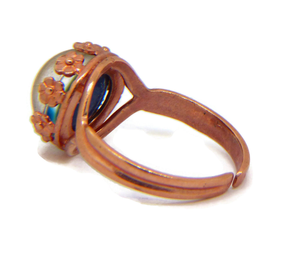 Rose Gold Plated Brass Flower Crown Bezel 10mm Mood Ring, Adjustable - Vintage Lane Jewelry